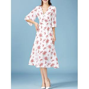 V Neck Bell Sleeve Tiny Floral Print Long Dress -
