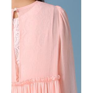 Fairy Lace Tank Dress and Pleated Flounced Smock Dress Twinset - PINK S