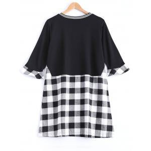 Plaid Flare Sleeve Long Tee - BLACK 4XL