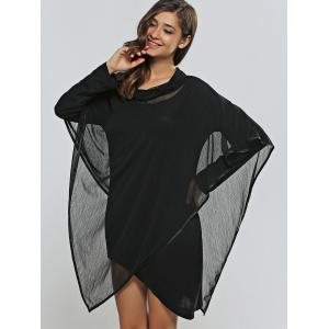Asymmetical Skinny Dress + Cowl Neck Cape Dress Twinset - BLACK ONE SIZE