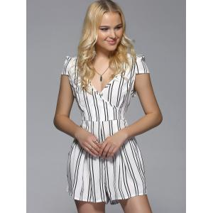 V Neck Striped Romper -
