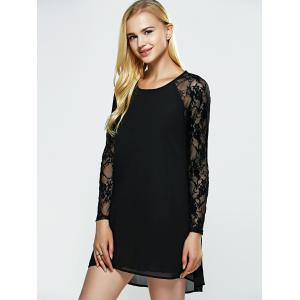 Mesh Splicing See-Through Black Dress -