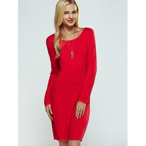 Solid Color Ruched Skinny Slimming Dress -