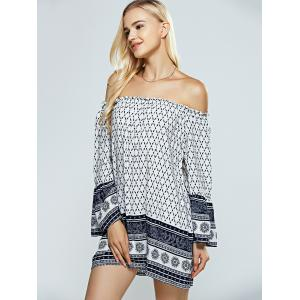 Strapless Print Casual Off The Shoulder Dress -