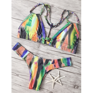 Strappy Colorful Print Bikini Set -