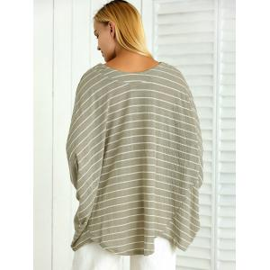 Batwing Sleeve Striped Asymmetrical Loose-Fitting Blouse -
