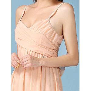 Noble Faux Wrap Ruched Spaghetti Strap Chiffon Maxi Dress -
