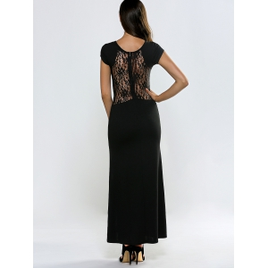 Lace Panel Short Sleeve Slit Maxi Prom Dress - BLACK XL