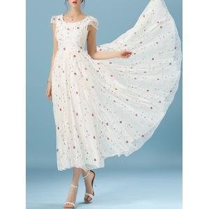 Floral Embroidered Cape Sleeve Mesh Spliced Full Dress -