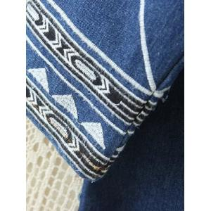 Embroidered Single-Breasted Denim Coat -