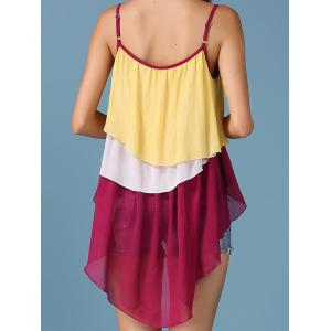 Color Block Tiered Asymmetric Ethnic Tank Top -