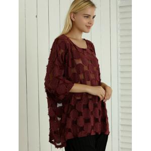 Batwing Sleeve See-Through Loose-Fitting Blouse -