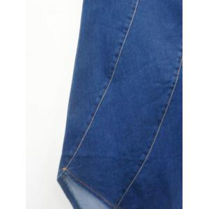 Topstitching Zipped Asymmetric Denim Skirt -
