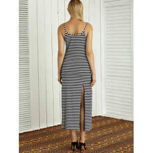 Striped High Slit Maxi Dress -