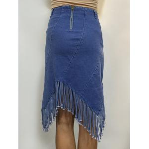 High Waist Fringed Denim Sheath Skirt -