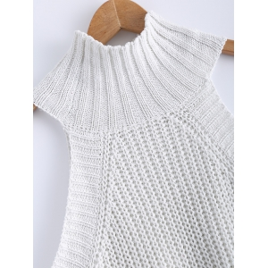 Cold Shoulde Knit Sweater - WHITE XL