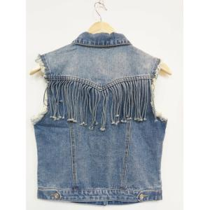 Ripped Buttoned Fringed Vest -