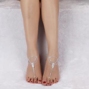 Rhinestoned Hollow Out Anklets -