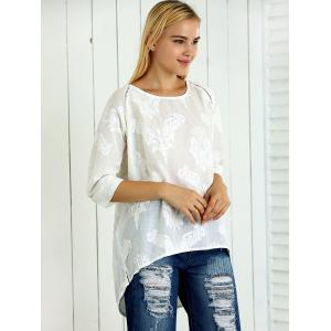 3/4 Sleeve Asymmetrical Jacquard Loose-Fitting Blouse -