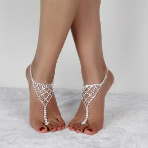 Triangle Tiered Rhinestone Toe Ring Anklet - SILVER