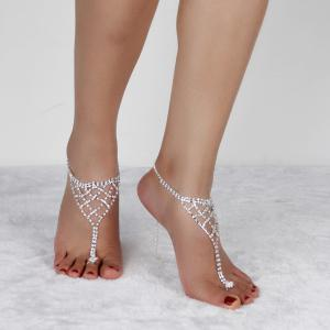 Triangle Tiered Rhinestone Toe Ring Anklet -