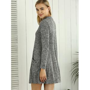 Heathered Long Sleeve Tunic Sweater Dress with Pocket -