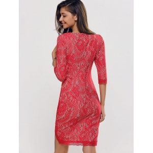 Laciness High Low Tulip Hem Jacquard Dress - RED 2XL