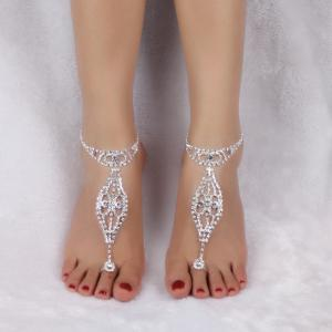 Geometric Rhinestoned Toe Ring Anklet -