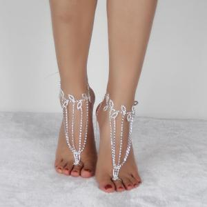 Layered Leaf Toe Ring Anklet - SILVER WHITE