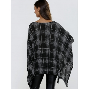 Batwing Sleeve Asymmetrical Plaid Loose-Fitting Knitwear -