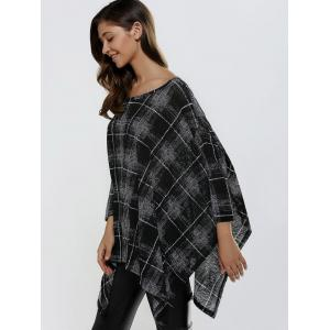 Batwing Sleeve Asymmetrical Plaid Loose-Fitting Knitwear - BLACK ONE SIZE
