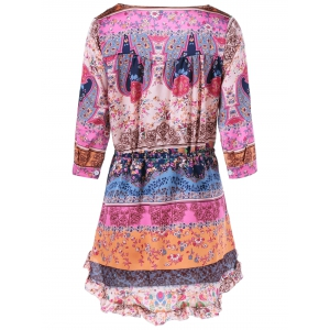 V Neck Colorful Printed Dress - COLORMIX XL