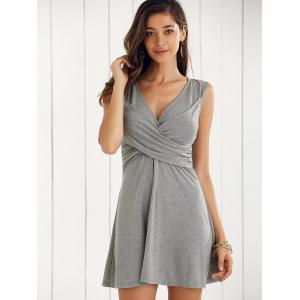 Elegant V-Neck Sleeveless Solid Color A-line Dress -
