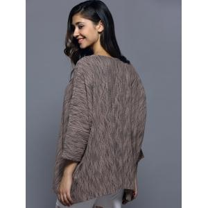 Batwing Sleeve Textured Loose-Fitting Knitwear -