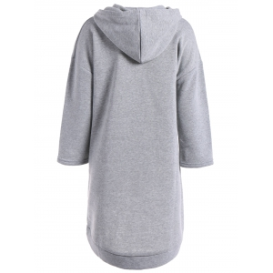 Loose Fitting High Low Fleece Hooded Dress -