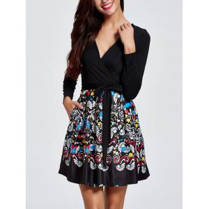 Long Sleeve Print Patched Dress -