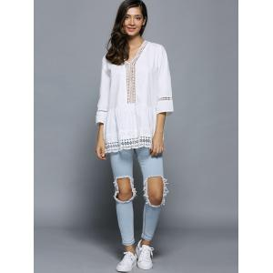 V-Neck Lace Splicing Hollow Out Blouse -