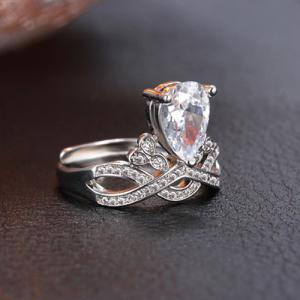 Faux Crystal Infinite Water Drop Wedding Ring -