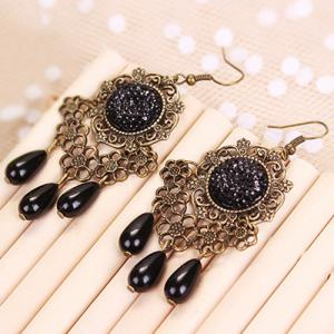Floral Rhinestone Teardrop Earrings -