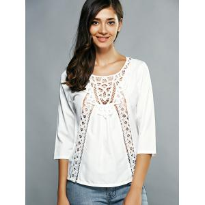 3/4 Sleeves Guipure Cut Out Blouse -