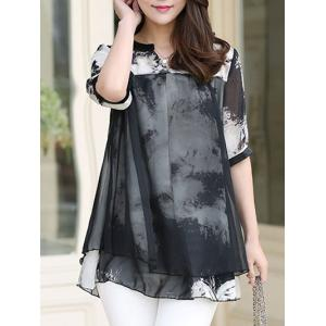 Ink Painting Two Layered Chiffon Blouse -