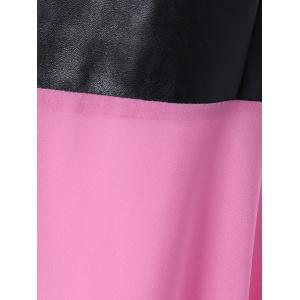 Chiffon Spliced PU Leather High Waist Dress - PINK M