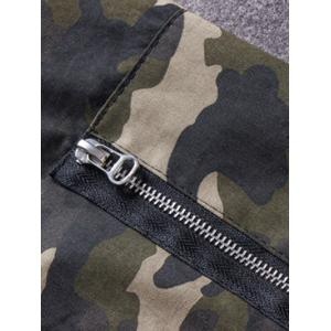 Plus Size Rib Spliced Stand Collar Long Sleeve Appliques Camouflage Jacket -