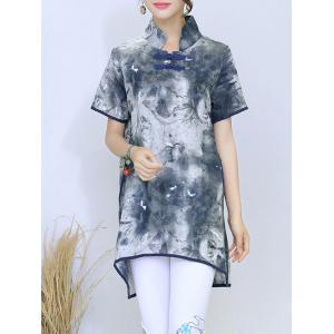 Vintage Ink Painting Slit High Low Hem Button Blouse -