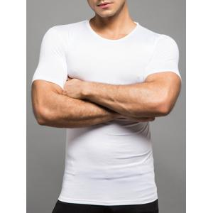 Plain Round Neck Fitted T Shirt - WHITE 2XL