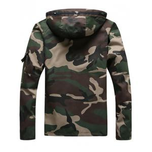 Hooded Long Sleeve Loose-Fitting Camouflage Jacket - CAMOUFLAGE S