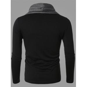 Color Splicing Cowl Neck Long Sleeve T-Shirt -