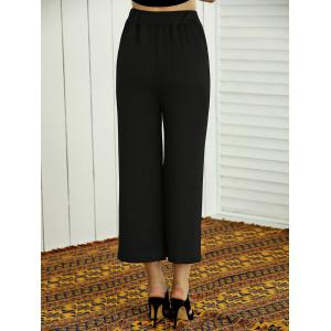 High-Waisted Woven Plain Wide Leg Pants -