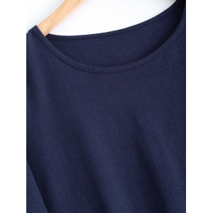 Batwing Sleeve Button Design Loose-Fitting Blouse -