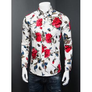 3D Rose Printed Plus Size Turn-Down Collar Long Sleeve Shirt - WHITE 5XL